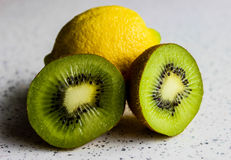 Lemon and kiwi Stock Photography