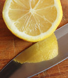 Lemon and knife 03 Stock Photo