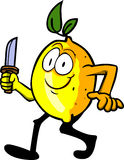 Lemon with a knife Stock Image
