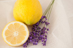 Lemon and lavender beauty treatment Royalty Free Stock Image