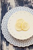 Lemon lavender raw cake. Raw lemon lavender vanilla cake on silver platter Royalty Free Stock Image