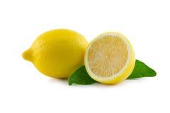 Lemon with leaf. Lemon and leaf on white background Stock Images