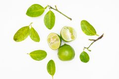 Limes isolated on the white background Stock Photos