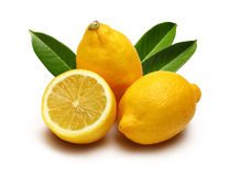 Lemon and leafs Stock Photography