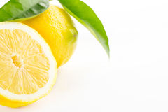Lemon with leaves isolated Royalty Free Stock Photography