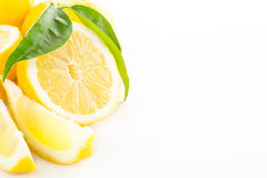 Lemon with leaves isolated. On white background Royalty Free Stock Photos