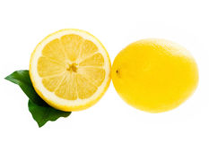 Lemon with leaves  slice isolated Stock Photo