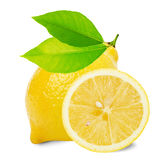Lemon with leaves and slices isolated on the white background Stock Photo