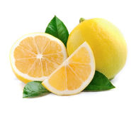 Lemon with leaves on white Stock Image