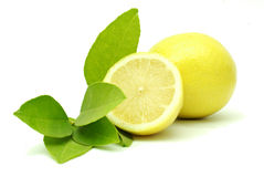 Lemon with leaves Stock Images