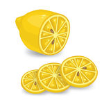 Lemon and lemon slice. Isolated on white background. Simple vector illustration Royalty Free Stock Photography