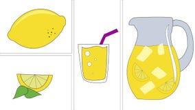 Lemon and Lemonade. Glass of lemonade with ice or lemon juice and some lemons, a cold fresh lemon drink Royalty Free Stock Photography