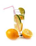 Lemon and lemonade in a glass Stock Images