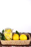 Lemon. Ade with some uncut  inside a basket ready copy space Stock Images