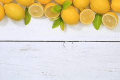 Lemon lemons fruits copyspace top view Royalty Free Stock Photo