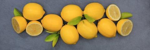 Lemon lemons fruits slate banner top view Royalty Free Stock Photography