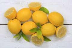 Lemon lemons fruits top view Stock Photo