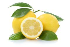 Lemon lemons with leaves fruits isolated on white. Lemon lemons with leaves fruits isolated on a white background royalty free stock photography