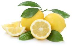 Lemon lemons slice organic fruits isolated on white Royalty Free Stock Photo