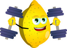 Lemon lifting weight Royalty Free Stock Images