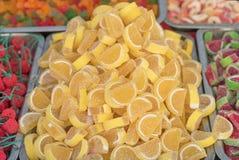 Lemon like Candies on a fair stall, Stock Photo