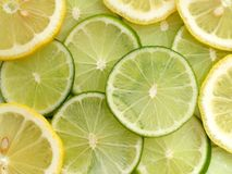 Lemon and Lime. Slices of lemon and lime Stock Photos