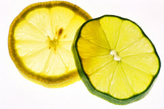 Lemon and Lime. Slices glowing on a white background Stock Photography