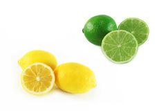 Lemon and lime. On white background royalty free stock photo