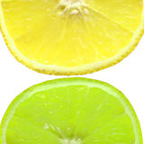 Lemon and lime. Lemon and lime on a white background Stock Photos