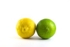 Lemon and Lime. Closeup of a lemon and a lime isolated on white stock image