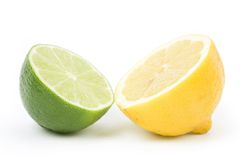 Lemon and Lime. With white background stock image