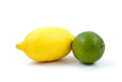 Lemon and lime. Isolated on the white background Stock Photography