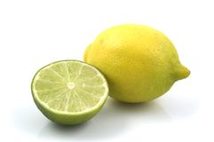 Lemon and Lime. Yellow Lemon and Green Lime Stock Photo