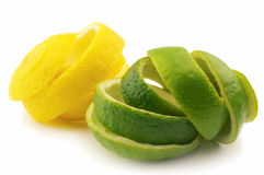 Lemon and lime. On a white background stock images