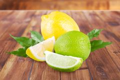 Lemon and lime. Acid yellow citric closeup citron isolated stock photos
