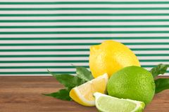 Lemon and lime. Acid yellow citric closeup citron isolated royalty free stock image