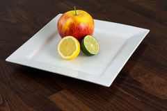 Lemon, lime, apple Royalty Free Stock Images
