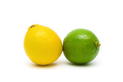 Lemon and lime closeup on a white background. Stock Image