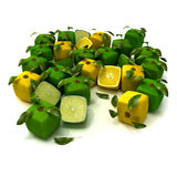 Lemon and lime cubic background. Cubic lemons and limes composition Stock Photo