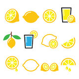 Lemon, lime - food icons set. Vector food icons set - lemon or lime isolated on white stock illustration