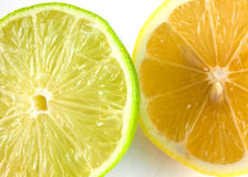 Lemon and lime halves on white. Closeup of half a lemon and a lime on white background royalty free stock photo