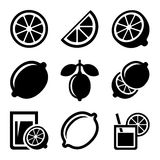 Lemon and Lime Icons Set. Vector Royalty Free Stock Images