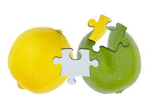 Lemon and lime jigsaw cutout Royalty Free Stock Image