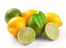 Lemon and lime with leaves Stock Photo