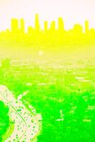 Lemon Lime Los Angeles. Los Angeles Cityscape and 101 freeway from aerial viewpoint Royalty Free Stock Images