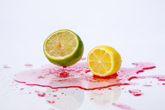 Lemon and lime makes a splash. Stock Photo