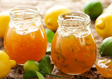 Lemon and Lime Marmalade. Jars of Lemon and Lime Marmalade with Fresh Fruits stock image