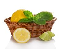 Lemon, lime and mint in basket Stock Photo
