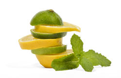 Lemon and lime mixed fruits Stock Photography