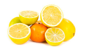 Lemon, lime and orange citrus fruit slices. On white royalty free stock images